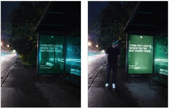 A motion sensor was connected to the light on this transit ad as part of an outdoor campaign to promote Power Smart. The campaign itself saved over 100 kilowatt hours of electricity.